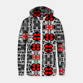 Miniatur KING OF HEARTS (RED AND BLACK) TILED Zip up hoodie, Live Heroes