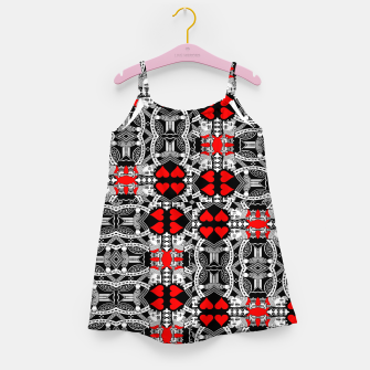 Miniatur KING OF HEARTS (RED AND BLACK) TILED Girl's dress, Live Heroes