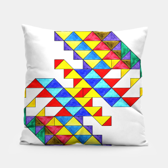 Imagen en miniatura de Centrally Reflective Triangles Pillow, Live Heroes