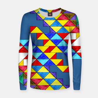 Miniature de image de Centrally Reflective Triangles on Blue Women sweater, Live Heroes