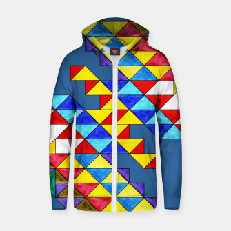 Miniature de image de Centrally Reflective Triangles on Blue Zip up hoodie, Live Heroes