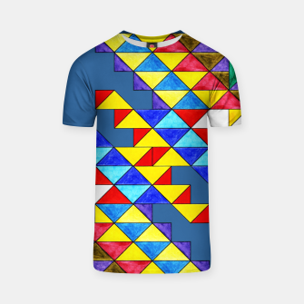 Miniature de image de Centrally Reflective Triangles on Blue T-shirt, Live Heroes