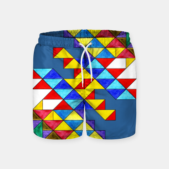Imagen en miniatura de Centrally Reflective Triangles on Blue Swim Shorts, Live Heroes