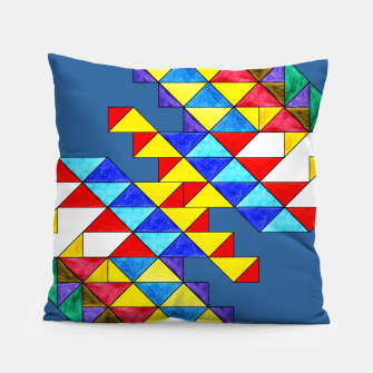Imagen en miniatura de Centrally Reflective Triangles on Blue Pillow, Live Heroes