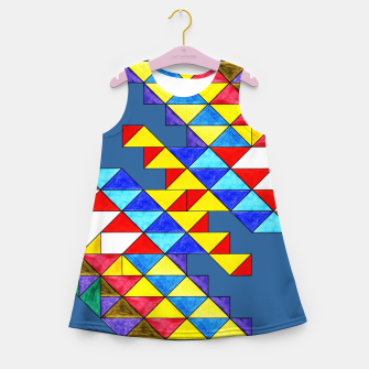 Miniature de image de Centrally Reflective Triangles on Blue Girl's summer dress, Live Heroes