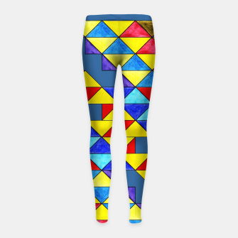 Imagen en miniatura de Centrally Reflective Triangles on Blue Girl's leggings, Live Heroes