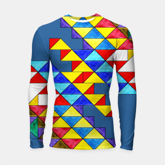 Miniature de image de Centrally Reflective Triangles on Blue Longsleeve rashguard , Live Heroes