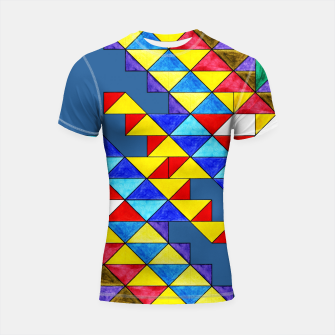 Imagen en miniatura de Centrally Reflective Triangles on Blue Shortsleeve rashguard, Live Heroes