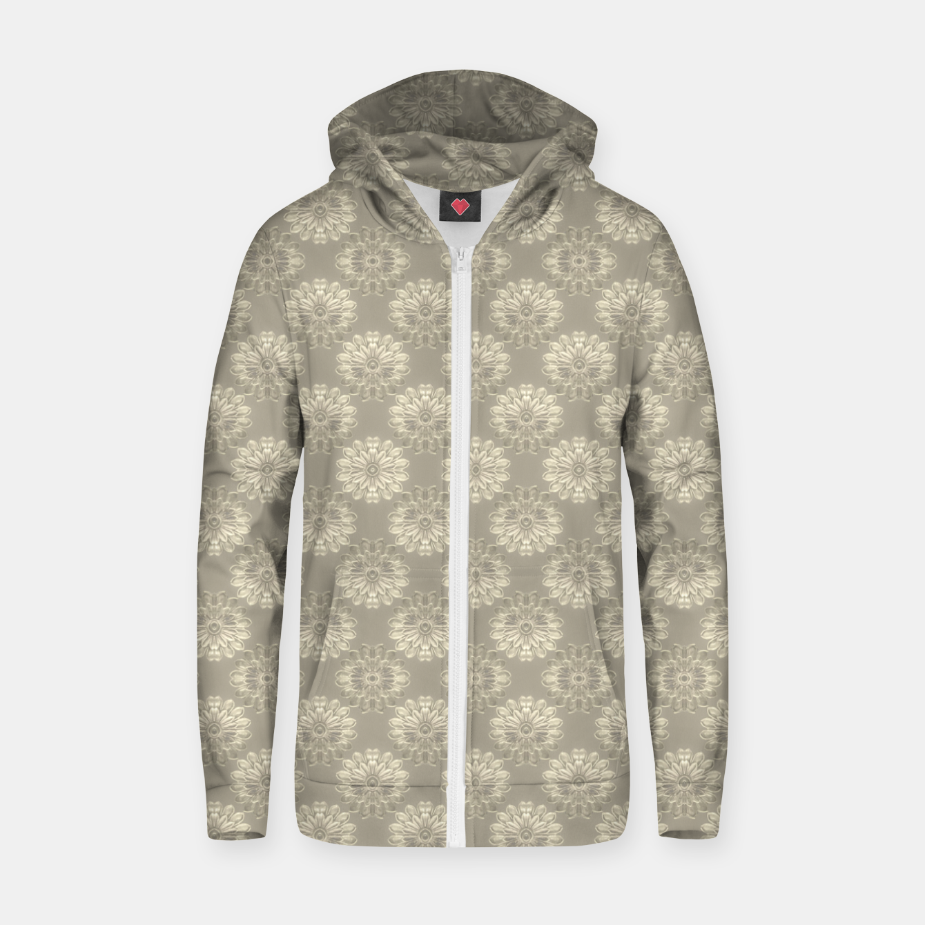Image of Bright Silver Decorative Motif Pattern Zip up hoodie - Live Heroes