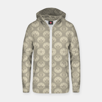 Bright Silver Decorative Motif Pattern Zip up hoodie thumbnail image