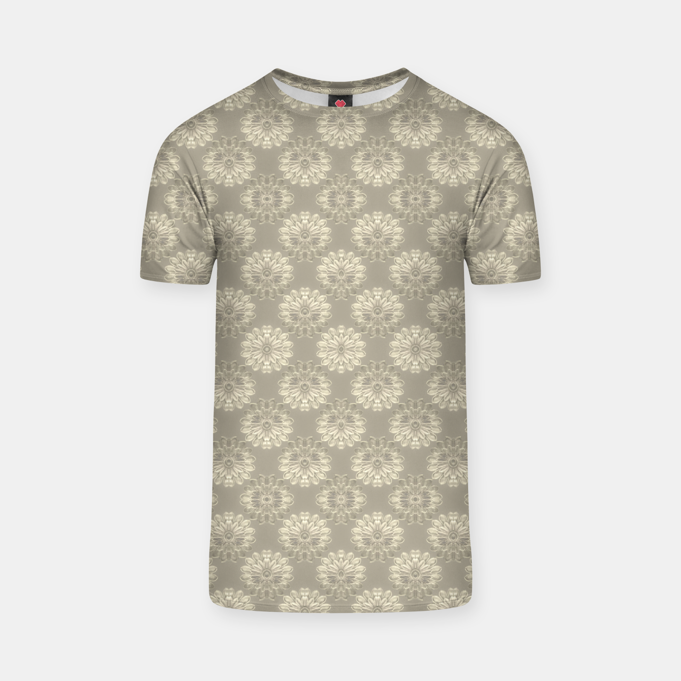 Image of Bright Silver Decorative Motif Pattern T-shirt - Live Heroes