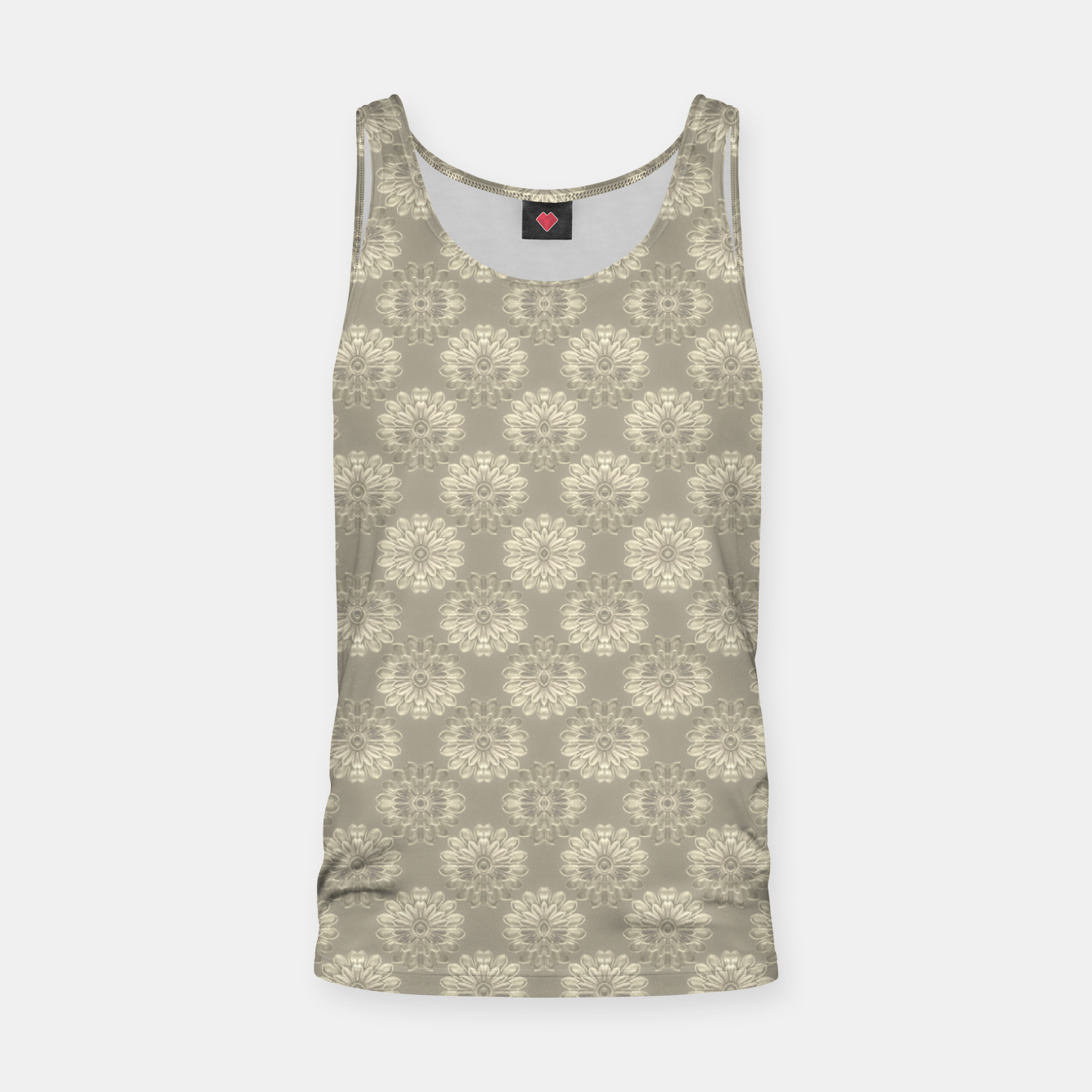 Image of Bright Silver Decorative Motif Pattern Tank Top - Live Heroes