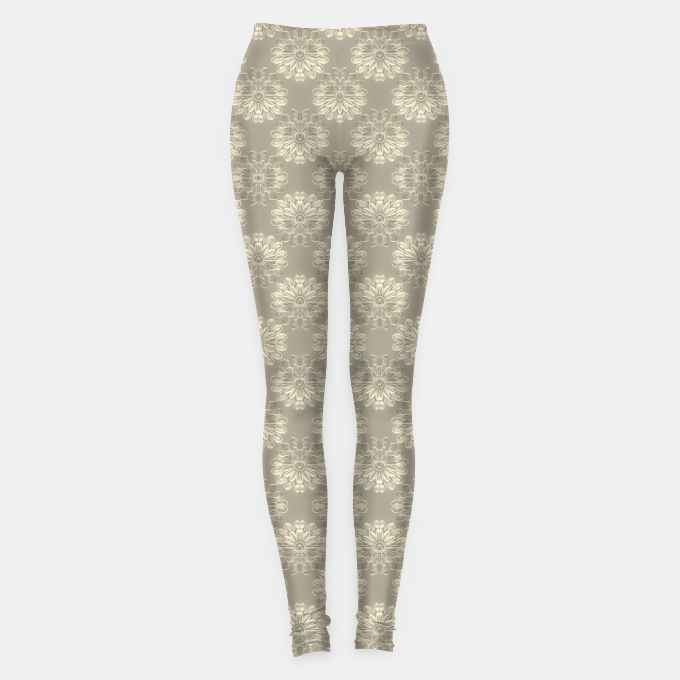 Image of Bright Silver Decorative Motif Pattern Leggings - Live Heroes