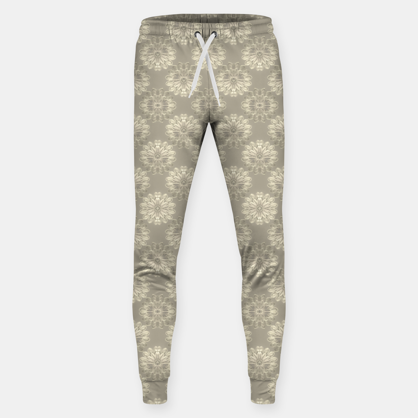 Image of Bright Silver Decorative Motif Pattern Sweatpants - Live Heroes