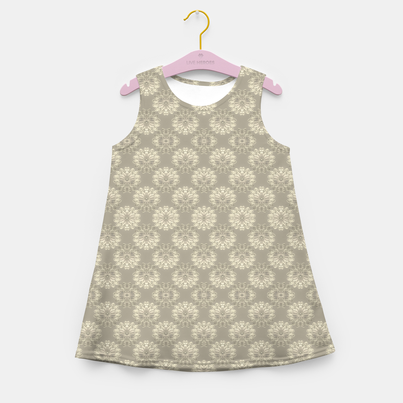 Image of Bright Silver Decorative Motif Pattern Girl's summer dress - Live Heroes