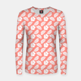 Thumbnail image of Tropical hibiscus flowers and banana leaves, pink pattern print Women sweater, Live Heroes
