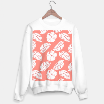 Thumbnail image of Tropical hibiscus flowers and banana leaves, pink pattern print Sweater regular, Live Heroes