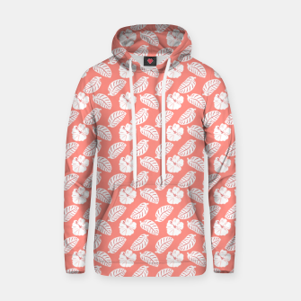 Thumbnail image of Tropical hibiscus flowers and banana leaves, pink pattern print Hoodie, Live Heroes