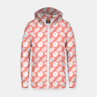 Thumbnail image of Tropical hibiscus flowers and banana leaves, pink pattern print Zip up hoodie, Live Heroes