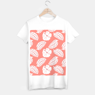 Thumbnail image of Tropical hibiscus flowers and banana leaves, pink pattern print T-shirt regular, Live Heroes