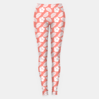 Miniatur Tropical hibiscus flowers and banana leaves, pink pattern print Leggings, Live Heroes