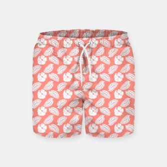 Thumbnail image of Tropical hibiscus flowers and banana leaves, pink pattern print Swim Shorts, Live Heroes