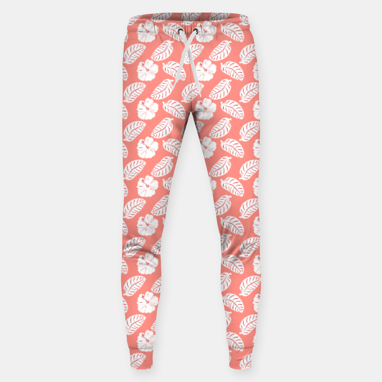 Image of Tropical hibiscus flowers and banana leaves, pink pattern print Sweatpants - Live Heroes