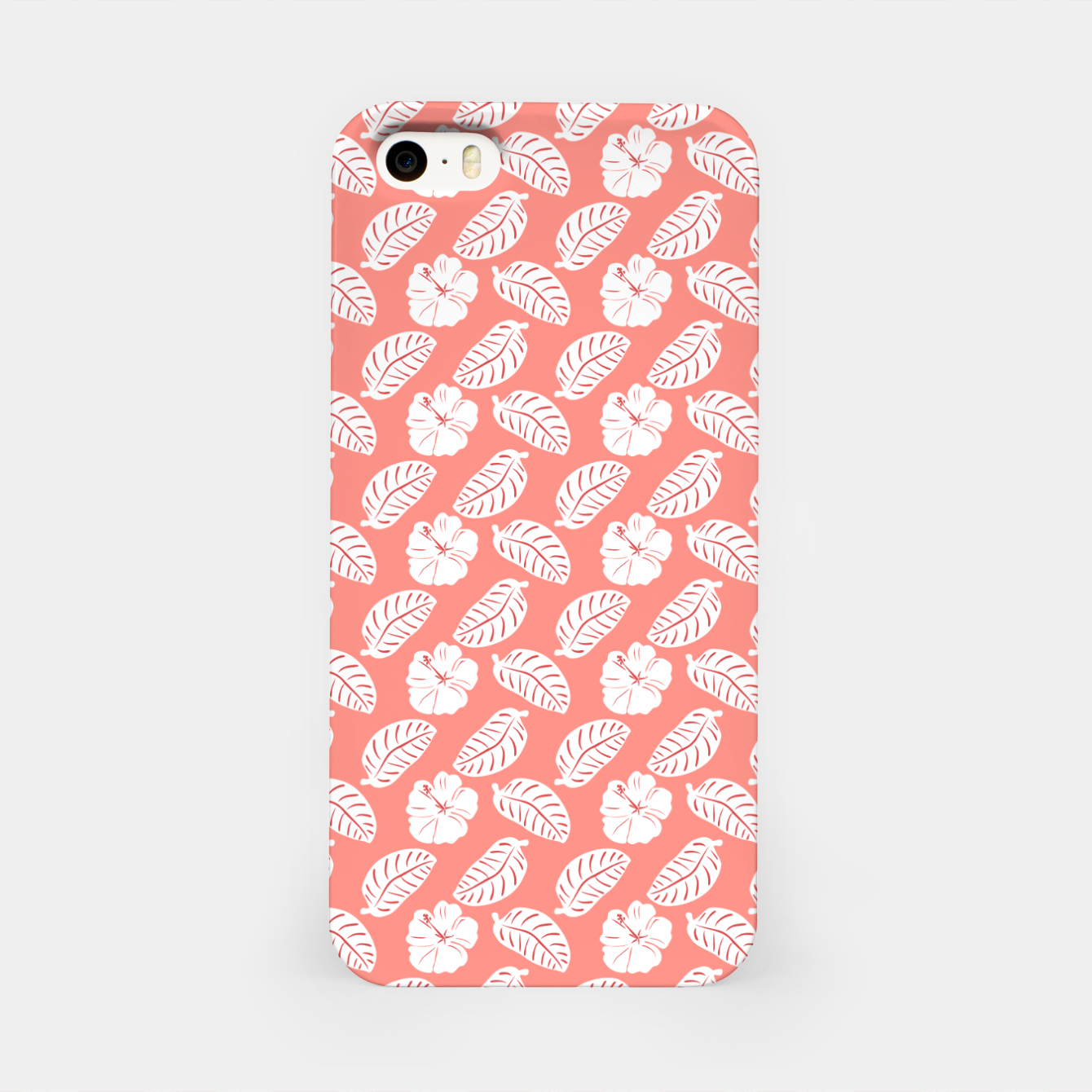 Zdjęcie Tropical hibiscus flowers and banana leaves, pink pattern print iPhone Case - Live Heroes