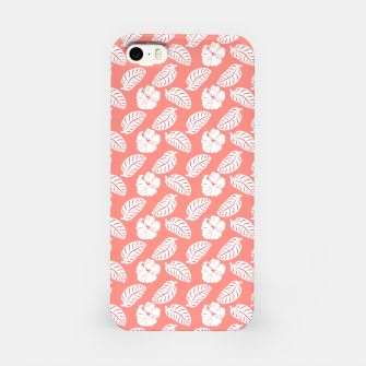 Thumbnail image of Tropical hibiscus flowers and banana leaves, pink pattern print iPhone Case, Live Heroes