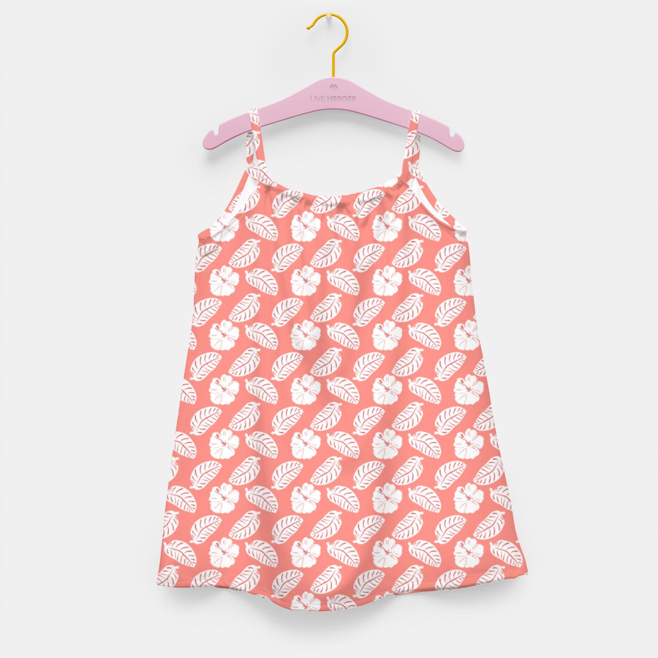 Image of Tropical hibiscus flowers and banana leaves, pink pattern print Girl's dress - Live Heroes
