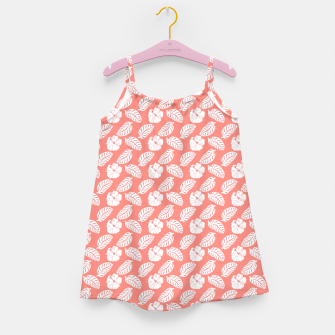 Miniatur Tropical hibiscus flowers and banana leaves, pink pattern print Girl's dress, Live Heroes
