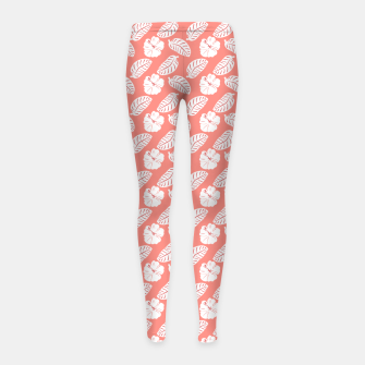 Thumbnail image of Tropical hibiscus flowers and banana leaves, pink pattern print Girl's leggings, Live Heroes