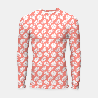 Thumbnail image of Tropical hibiscus flowers and banana leaves, pink pattern print Longsleeve rashguard , Live Heroes
