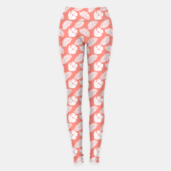 Thumbnail image of Tropical hibiscus flowers and banana leaves, pink pattern print Leggings, Live Heroes