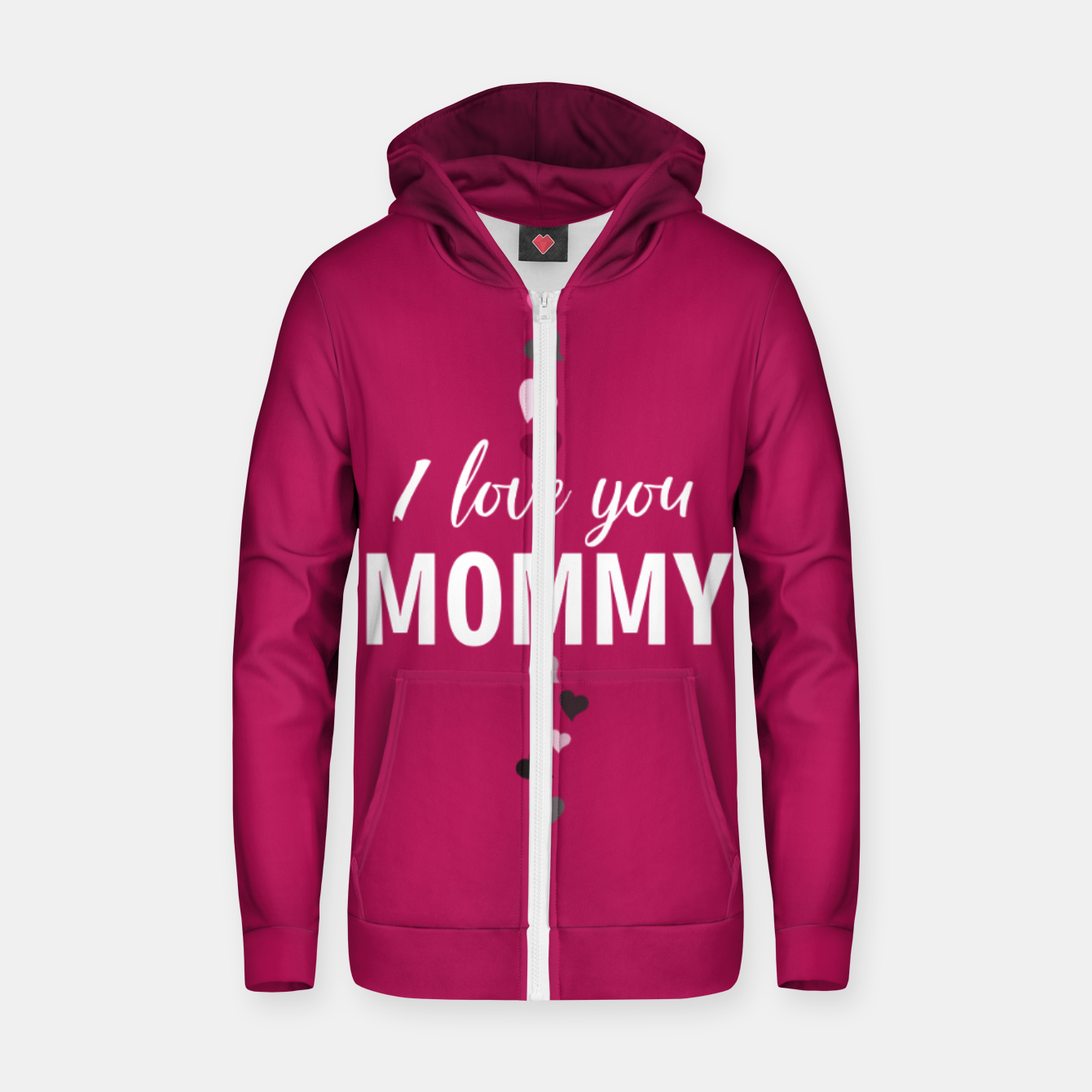 Image of I love you mommy, typographic print for all loving mother, mother's day print Zip up hoodie - Live Heroes