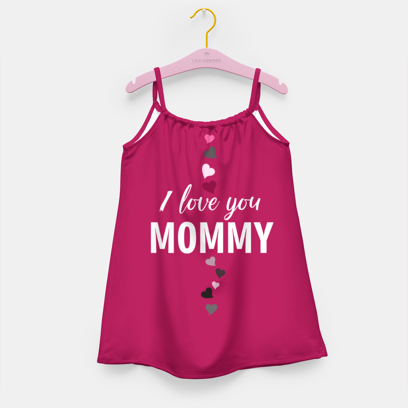 Image of I love you mommy, typographic print for all loving mother, mother's day print Girl's dress - Live Heroes