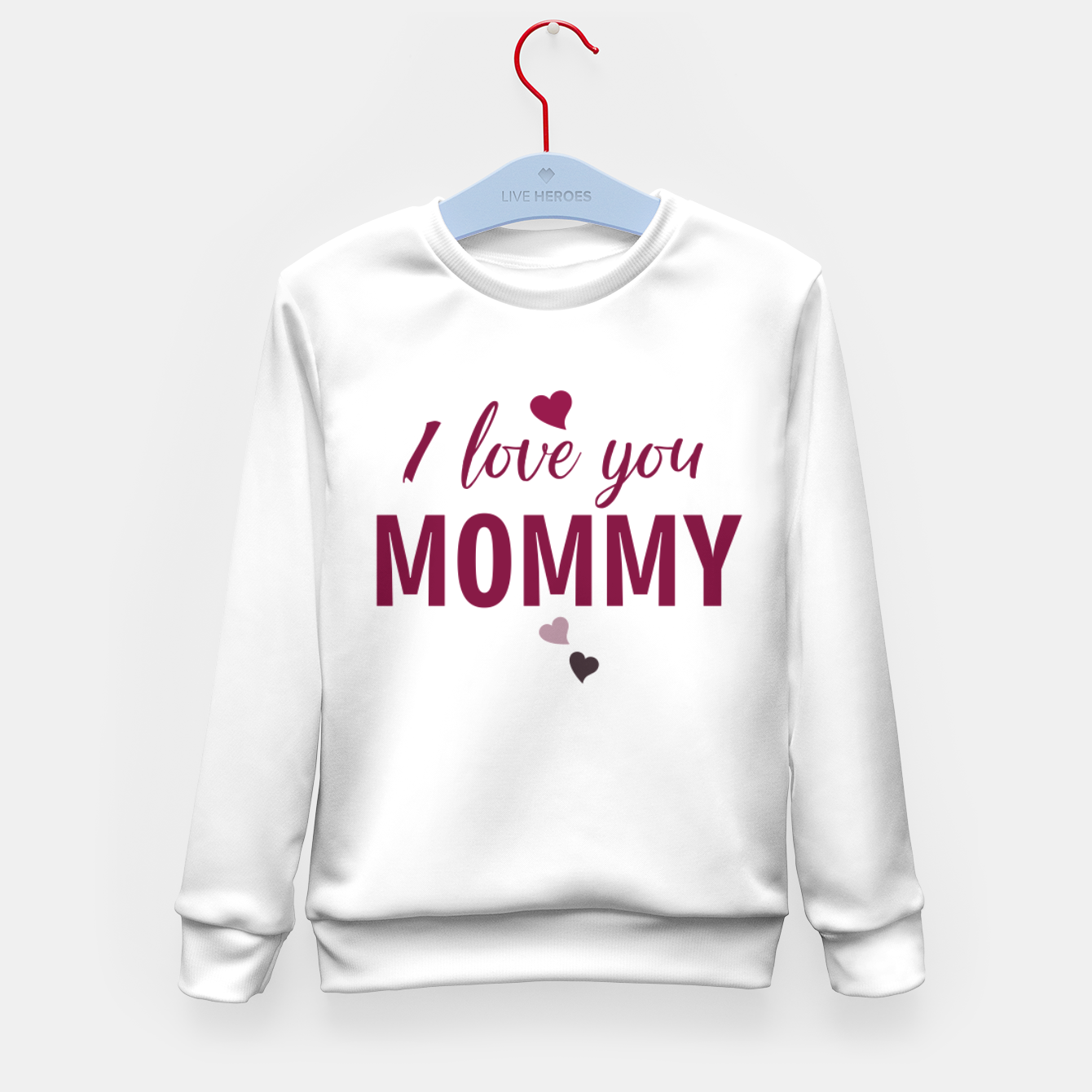 Image of I love you mommy, typographic print for all loving mother, mother's day print Kid's sweater - Live Heroes