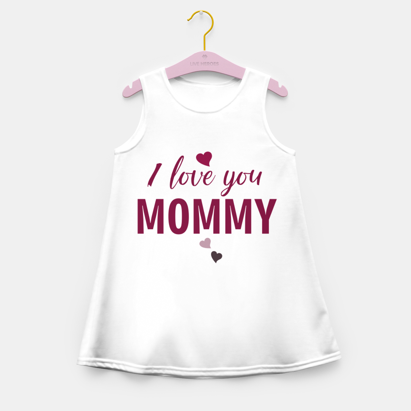 Image of I love you mommy, typographic print for all loving mother, mother's day print Girl's summer dress - Live Heroes