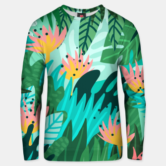 Thumbnail image of Let's Dance In The Sun, Wearing Wildflowers In Our Hair, Tropical Jungle Nature Botanical Painting Unisex sweater, Live Heroes
