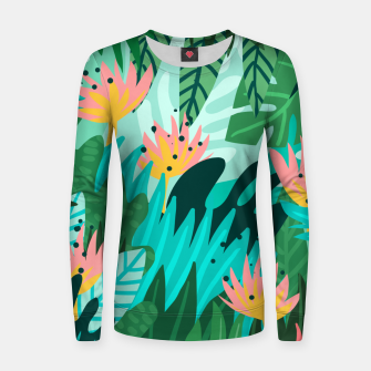 Thumbnail image of Let's Dance In The Sun, Wearing Wildflowers In Our Hair, Tropical Jungle Nature Botanical Painting Women sweater, Live Heroes