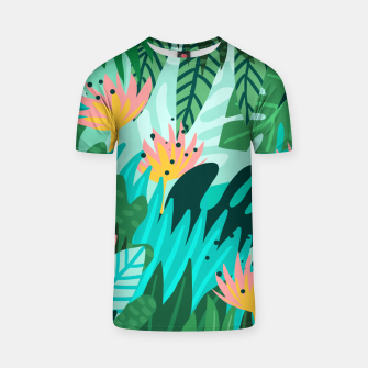 Thumbnail image of Let's Dance In The Sun, Wearing Wildflowers In Our Hair, Tropical Jungle Nature Botanical Painting T-shirt, Live Heroes