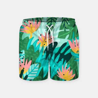 Thumbnail image of Let's Dance In The Sun, Wearing Wildflowers In Our Hair, Tropical Jungle Nature Botanical Painting Swim Shorts, Live Heroes