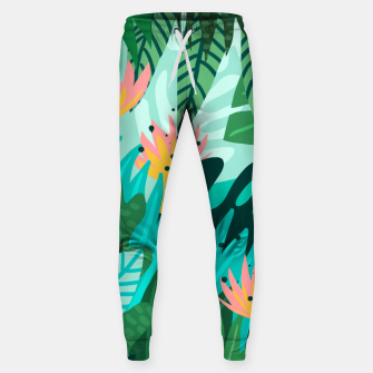 Thumbnail image of Let's Dance In The Sun, Wearing Wildflowers In Our Hair, Tropical Jungle Nature Botanical Painting Sweatpants, Live Heroes