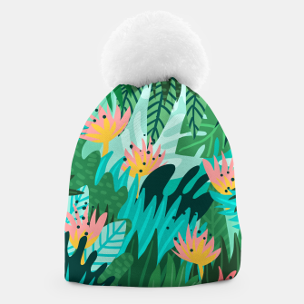 Thumbnail image of Let's Dance In The Sun, Wearing Wildflowers In Our Hair, Tropical Jungle Nature Botanical Painting Beanie, Live Heroes