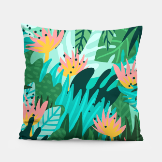 Thumbnail image of Let's Dance In The Sun, Wearing Wildflowers In Our Hair, Tropical Jungle Nature Botanical Painting Pillow, Live Heroes
