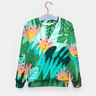 Thumbnail image of Let's Dance In The Sun, Wearing Wildflowers In Our Hair, Tropical Jungle Nature Botanical Painting Kid's sweater, Live Heroes