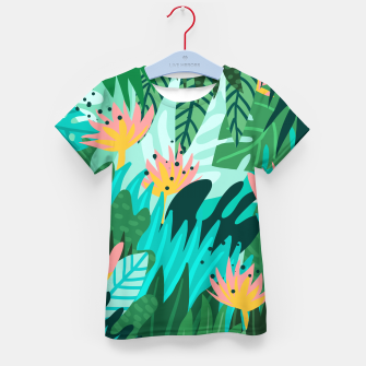Thumbnail image of Let's Dance In The Sun, Wearing Wildflowers In Our Hair, Tropical Jungle Nature Botanical Painting Kid's t-shirt, Live Heroes