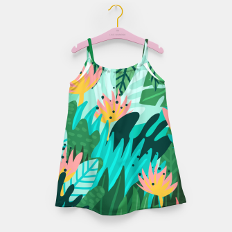 Thumbnail image of Let's Dance In The Sun, Wearing Wildflowers In Our Hair, Tropical Jungle Nature Botanical Painting Girl's dress, Live Heroes