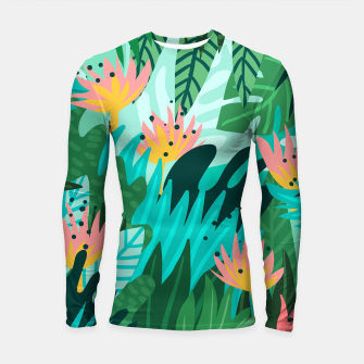 Thumbnail image of Let's Dance In The Sun, Wearing Wildflowers In Our Hair, Tropical Jungle Nature Botanical Painting Longsleeve rashguard , Live Heroes