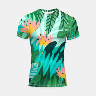 Thumbnail image of Let's Dance In The Sun, Wearing Wildflowers In Our Hair, Tropical Jungle Nature Botanical Painting Shortsleeve rashguard, Live Heroes